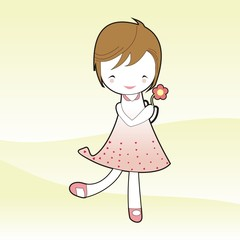 Short hair girl hold flower in pink dress cartoon vector