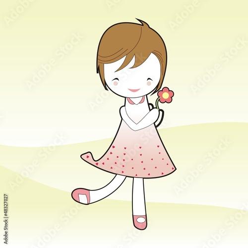 Short hair girl hold flower in pink dress cartoon vector