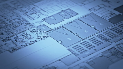 Blueprint. Track shot over a architecture blueprint