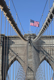 American flag on top of famous Brooklyn Bridge poster