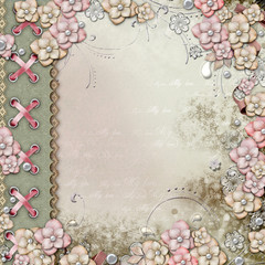 Old decorative album cover  with flowers and pearls