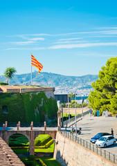 View of Castell de Montjuich, in Barcelona Spain