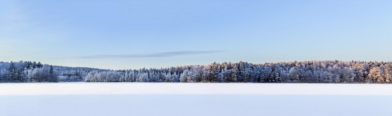 Winter lake panorama, Finland