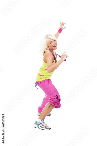 canvas print picture Portrait einer jungen schönen sportlichen Frau freigestellt