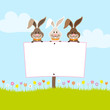 3 Bunnies Holding Easter Egg Label In Meadow
