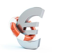lifebuoy euro symbol isolated on a white background