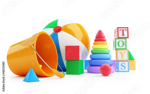 toys alphabet cube, beach ball, pyramid