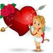 Cupid and heart and red roses