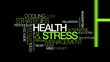 Health & Stress coping management word tag cloud animation