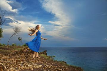Blue dress, woman
