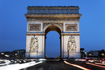 The famous Arc de Triomphe by night