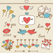Set of Valentine's cute doodles and design elements.