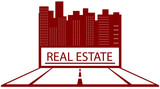 red symbol of real estate with road and place for text