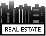 real estate sign with skyscraper and place for text