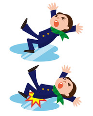 滑って転ぶ学生