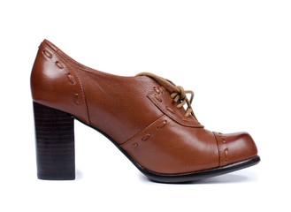 Classical brown leather lady's shoe