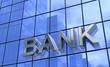 3D Bank Text Konzept Silber Blau