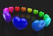 Kreis der Regenbogenherzen auf schwarz 1