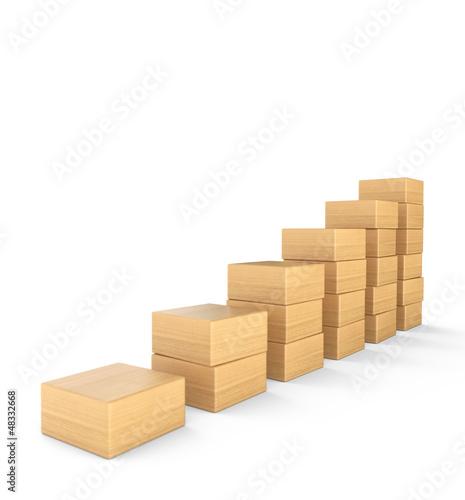 Aufwärtstrend aus Holz - 3D Bauklötze Diagramm eckig 2