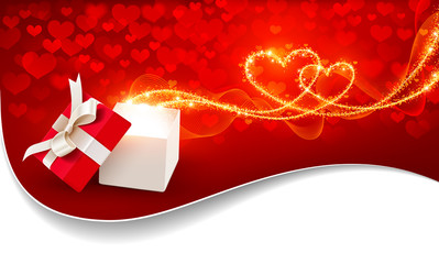 Open gift box with magic hearts