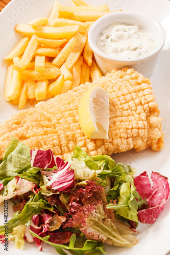 fish with french fries potatoes