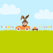 Bunny In Meadow Driving Car Easter Eggs