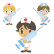 a cartoon nurse with a syringe, three colors
