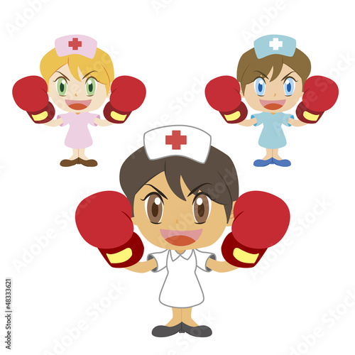 nurse raises her boxing gloves