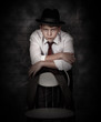 Portrait looking danger detective man