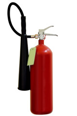 Fire extinguishers on white background