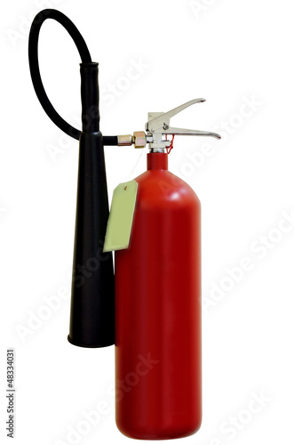 Fire extinguishers on white background