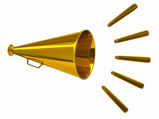 3d illustration of gold megaphone icon