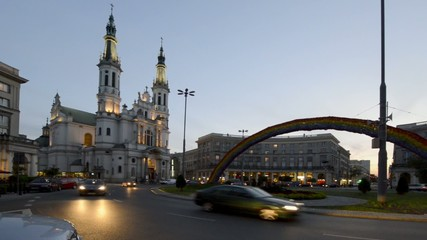 Zbawiciela square, old historic place in Warsaw, Poland