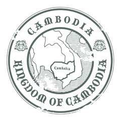 Stamp with the name and map of Cambodia, vector