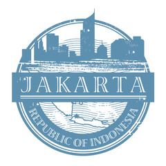 Stamp with the name of Jakarta, Indonesia, vector