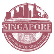 Stamp with the name of Singapore, vector