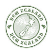 Grunge rubber stamp with the name and map of New Zealand, vector