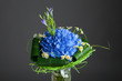 bouquet of blue hydrangea flowers