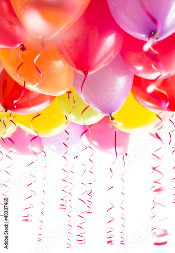 balloons with streamers for birthday party celebration isolated
