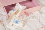 Bridal garter in pink box