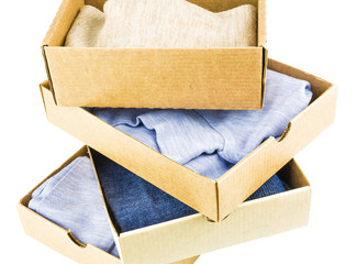 Stack of cartons with clothes
