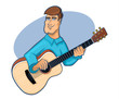 Guitarist Strumming Illustration