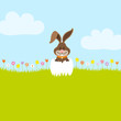 Bunny In Meadow In Eggshell