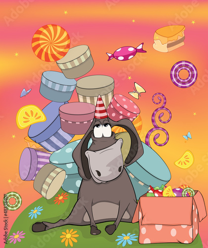 Donkey birthday. Cartoon