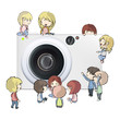 Camera with several kids. Vector design.