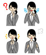 Businesswoman Emotional Face set