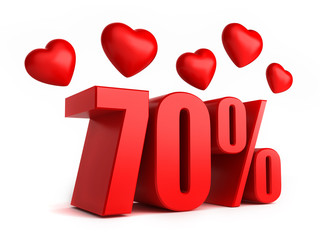 3d render of 70 percent with hearts