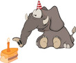 The elephant calf and a slice cake. Cartoon