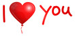 "Flying Red Heart Balloon ""I love you"""