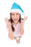 Happy woman in Santa hat
